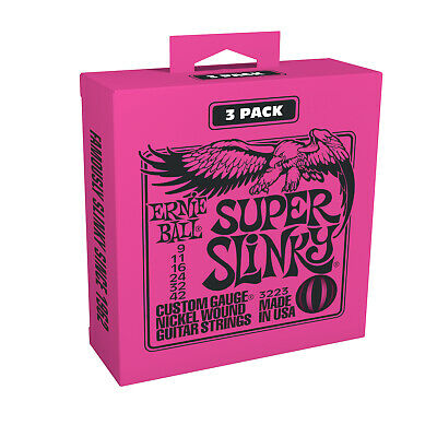 3 Ernie Ball 2223 Super Slinky 3 Pack Sets Electric Guitar Strings (9-42) 3223
