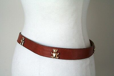 S - Vintage Belt - 1980s - Tan Brown - Gilt Teddy Bear trim
