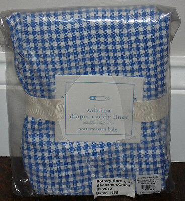 NIP Pottery Barn Kids Blue Gingham SABRINA DIAPER CADDY Liner