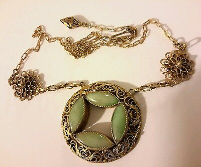 ANTIQUE ART DECO SILVER Gold Wash CHINESE CARVED JADE FILIGREE NECKLACE