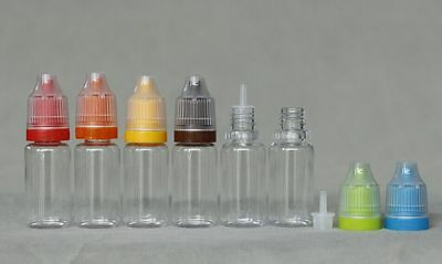 10ml PET Clear liquid dropper bottle tamper proof child proof cap 10 sets