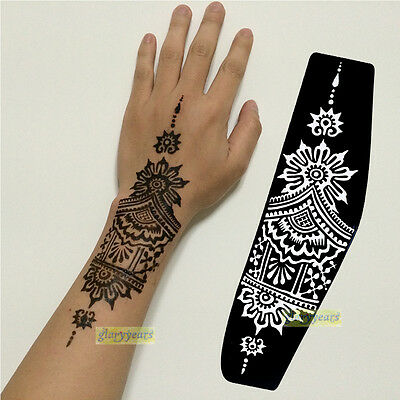 1pc Lots Style Professional Mehndi India Henna Stencils Tattoo Hand Arm Template