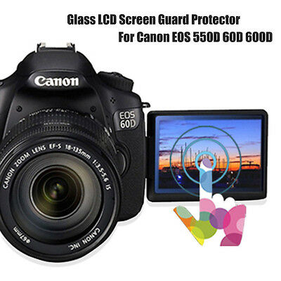 DSLR Clear Tempered Glass LCD Screen Guard Protector For Canon EOS 550D 60D 600D