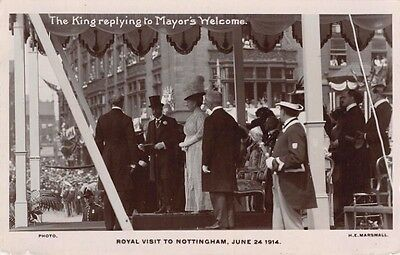 Notts - NOTTINGHAM,  Royal Visit, King Replying to Mayors Welcome 1914 - RP