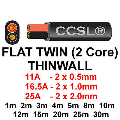 12v/24v AUTOMOTIVE 2 CORE FLAT TWIN THINWALL CABLE 0.5mm 11A, 1mm 16.5A, 2mm 25A