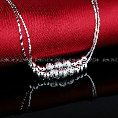 Double Layer 925 Sterling Silver Beads Ankle Anklet Chain Bracelet Foot Jewelry