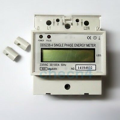 AC 220V kWh Watt Hour Meter Single Phase LCD Counter Energy Meter 30(100)A 50HZ