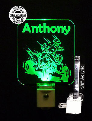 Personalized ATV Four Wheeling Acrylic LED Night Light - Kids Lamp, nightlight