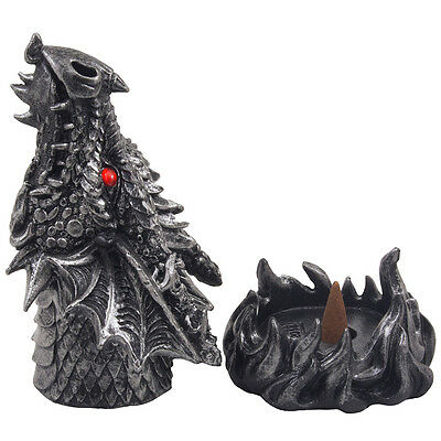 Fire Breathing Dragon Incense Burner for Scented Cones Medieval Fantasy Gifts