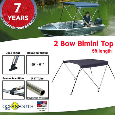 "BIMINI TOP 2 Bow Boat Cover Blue 59""-67"" With Integrated protective Cover"