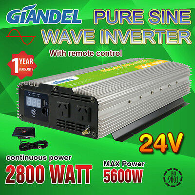 Pure Sine Wave Power Inverter 2800W(5600W Max)24V-240V+Remote Control 4.5M Cable