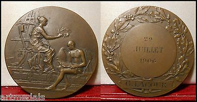 1906 RARE BRONZE ART NOUVEAU MEDAL INSTRUCTION by RIVET