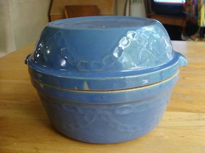 Western Stoneware Monmouth Blue Pottery Casserole Bowl & Lid Chain Link USA