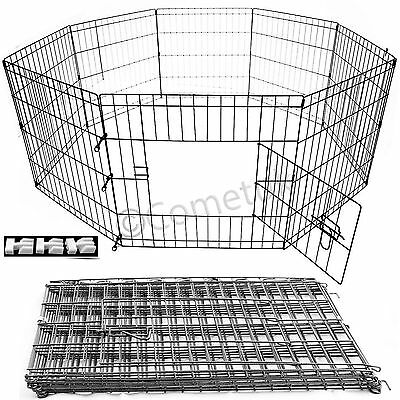 8 Panel Pet Playpen For Dog Puppy Rabbit Portable Cage Run Pen Folding Fence UK