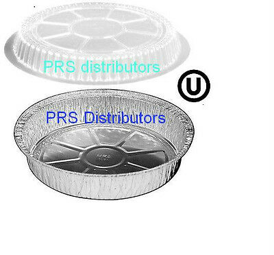 """9"""" Round Aluminum Cake Bread Pans Take out Food Containers + Dome Lids 25 SETS"""
