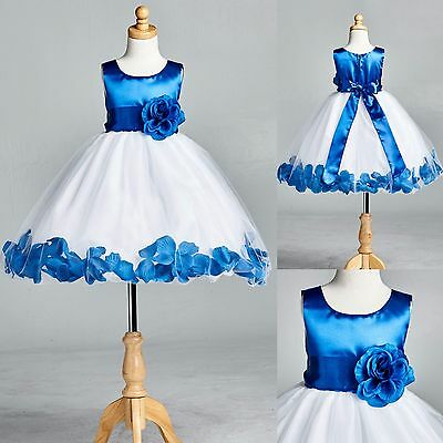Royal Blue Rose Petal Tulle Dress Flower Girl Bridesmaid Birthday Easter #22