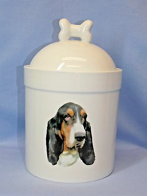 Basset Hound Dog Porcelain Treat Jar Fired Head Decal on Front 8 In Tall