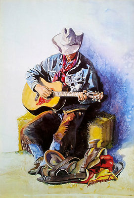 Watercolor Painting Cowboy POSTER 23x34 Western America Judi Hagerty Illustrator