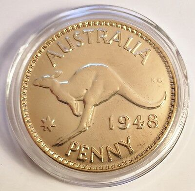 1948 Circulated Australian Penny Coin 999 24k Gold HGE in Acrylic Capsule. KG V1