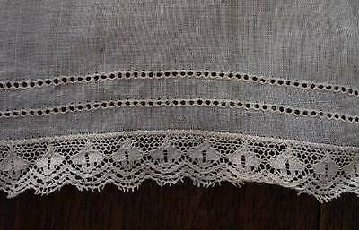 Vintage Linen Dress Collar Cuff Set Embroidered Net Lace Trim Edge