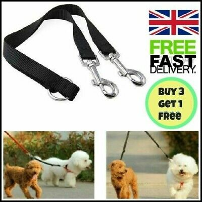 "33"" Duplex Dog Coupler Twin Double Lead 2 Way Two Dogs Pet Walking Safety Leash"