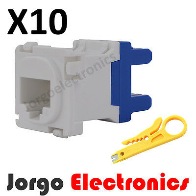 CAT6 RJ45 CLIPSAL COMPATIBLE Data Inserts Jacks X 10 & Punch Down Tool
