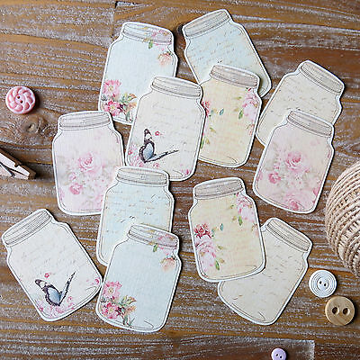 12 x Rustic floral butterfly mason jar card toppers - card making scrapbooking