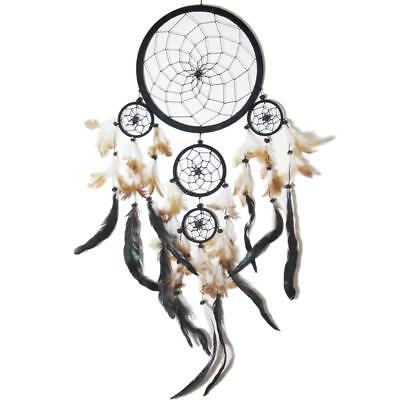 AND-8302SC Dreamcatcher - Attrape rêve - 5 Cercles Noirs - Plumes Noires