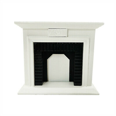 Dollhouse Miniature White Wooden Fireplace 1:12 Scale Model Toy Room Decoration