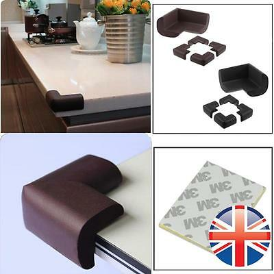 *UK Seller* 4 x Corner Edge Protector Guard Baby Safety Soft Foam Black Brown