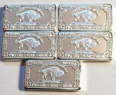 "5 x 2.5 Gram ""Buffalo"" Ingots HSE 999 Fine Silver Edition (Total of 12.5 Grams)"