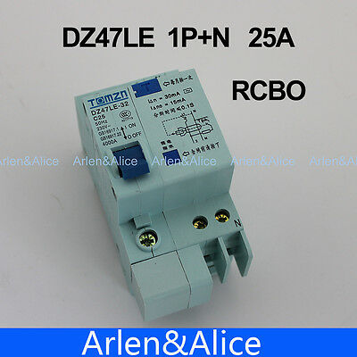 DZ47LE 1P+N 25A C type 230V~ 50HZ/60HZ Residual current Circuit breake RCBO