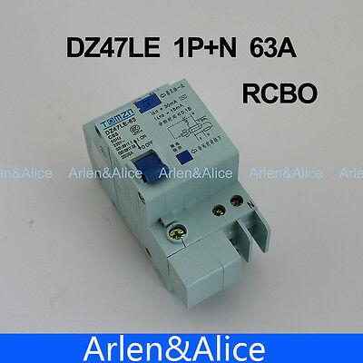 DZ47LE 1P+N 63A C type 230V~ 50HZ/60HZ Residual current Circuit breaker RCBO