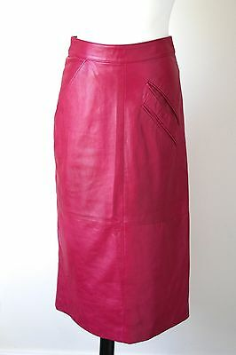 Vintage Pink Leather Straight / Pencil Skirt - 1980s - Begedor - UK 8