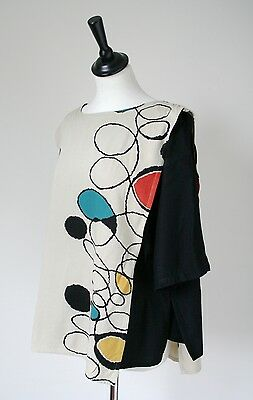 Emma Somerset Vintage Tabard Top -1980s Black / Multi - Rayon - UK 14 /L