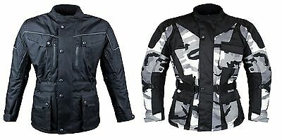 Men's Armoured Waterproof Windproof Cordura Textile Motorcycle Motorbike Jacket