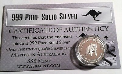 "1/10th Oz 99.9% Pure Silver Bullion Coin, ""Tas Devil"" (Aust Series) 14 to Coll"