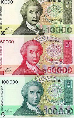 CROATIA Europe set of 3 pcs UNC 10000 50000 100000 Dinara 1992-1993 p-25,26,27