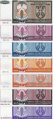 CROATIA Europe set of 7 pcs UNC Dinara 1993 p-r13,r14,r15,r16,r17,r18,r19