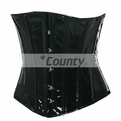 Underbust Full Steel Boned Heavy Lacing  Bustier Fetish Black PVC Vinyl Corset