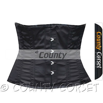 Full Steel Boned Spiral Shaper Cincher Taillen Waist Slimming Black Satin Corset