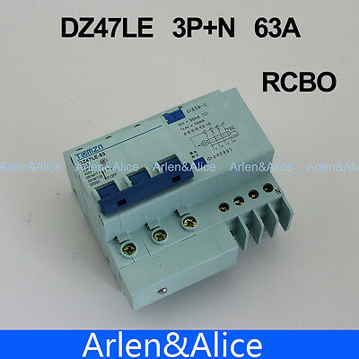 DZ47LE 3P+N 63A 400V~ 50HZ/60HZ Residual current Circuit breaker RCBO