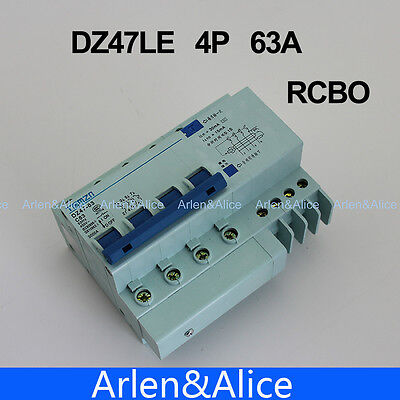 4P 63A DZ47LE63A 400V~ C type Residual current Circuit breaker   RCBO