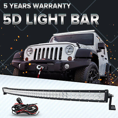 5D+ 54INCH 728W CREE Curved Led Light Bar Combo Offroad Driving 4x4WD Truck ATV