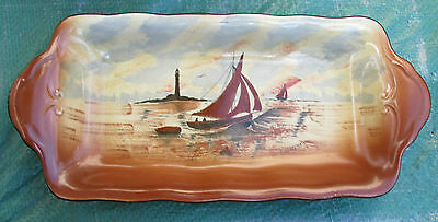 Vintage Empire Ware Hand Painted Sandwich Tray Nautical Scene Yacht