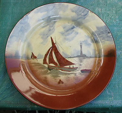 Vintage Empire Ware Hand Painted Cabinet Plate  Nautical Scene Yacht