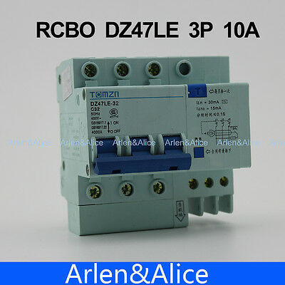 3P 10A DZ47LE TOMZN 400V~ Residual current Circuit breaker  RCBO