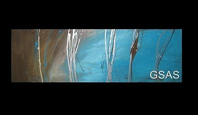 HUGE ABSTRACT CANVAS PAINTING WALL ART turquoise brown silver Australia