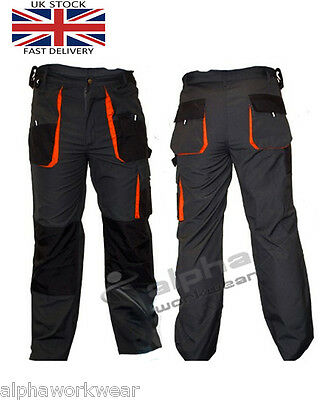 Work Trousers Mens Cargo Combat Style Heavy Duty Pants Knee Pads Pockets ECO-T