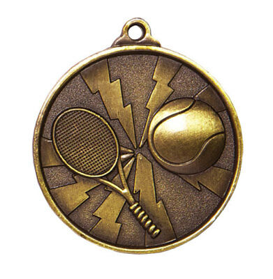 Tennis Gold Lightning Medal Trophy Award 50mm FREE Engraving & Neck Ribbon 70